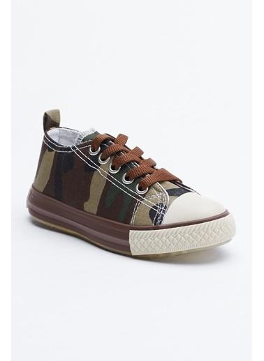 Tonny Black Haki Kamuflaj Çocuk Işıklı Spor Ayakkabı Tb998 Haki